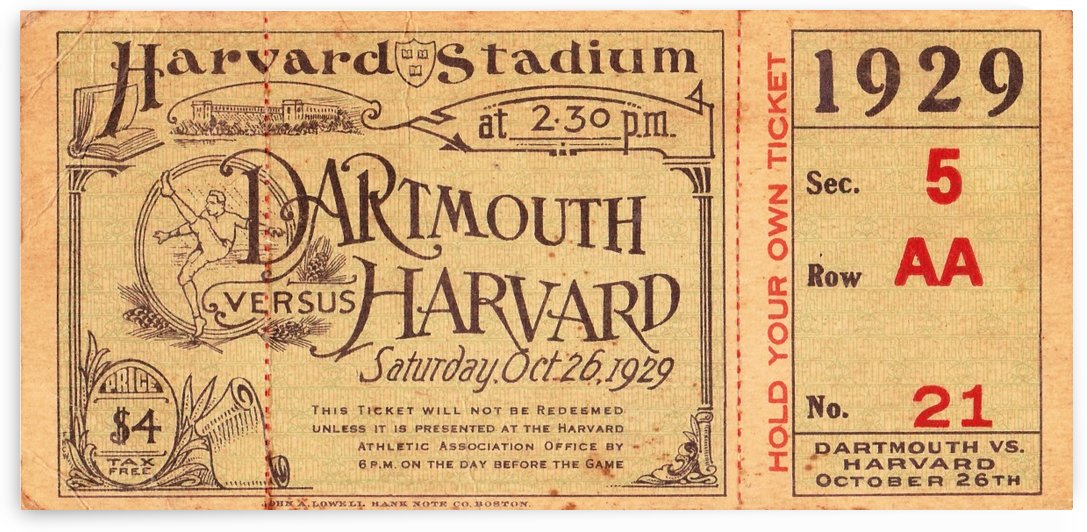 1929 Dartmouth vs. Harvard by Row One Brand