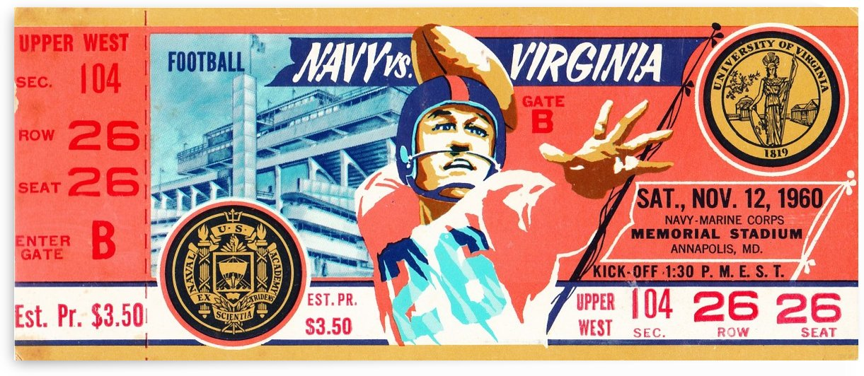 1960_College_Football_Navy vs. Virginia_Memorial Stadium_Annapolis Gift Idea by Row One Brand