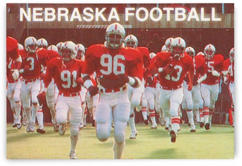 1981 Nebraska Football Art_College Football Running Onto the Field_Lincoln Nebraska Gift Idea Art by Row One Brand
