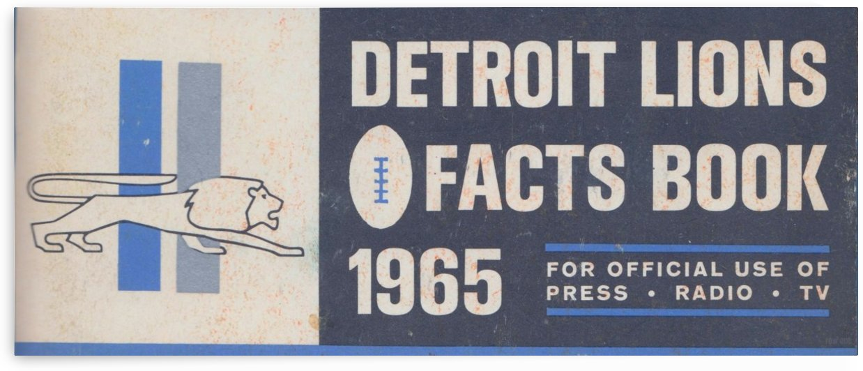 1965 Detroit Lions Facts Book Art Print by Row One Brand