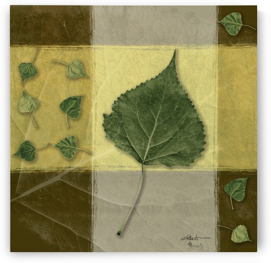 Leaves on Mustard & Citronelle 1x1 by Veratis Editions