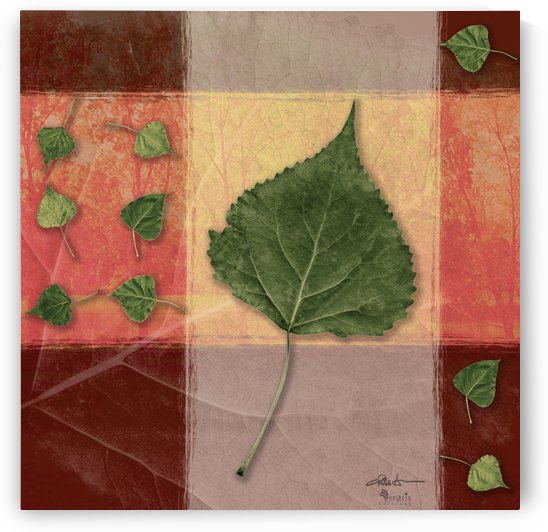 Leaves on Peach & Salmon 1x1 by Veratis Editions