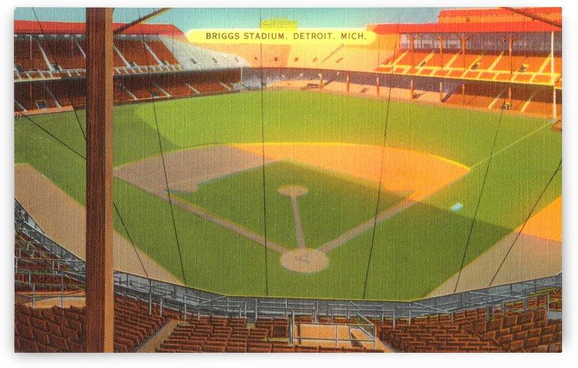 Vintage Briggs Stadium Art_Detroit Michigan Baseball Stadium Art_Detroit Tiger Poster by Row One Brand