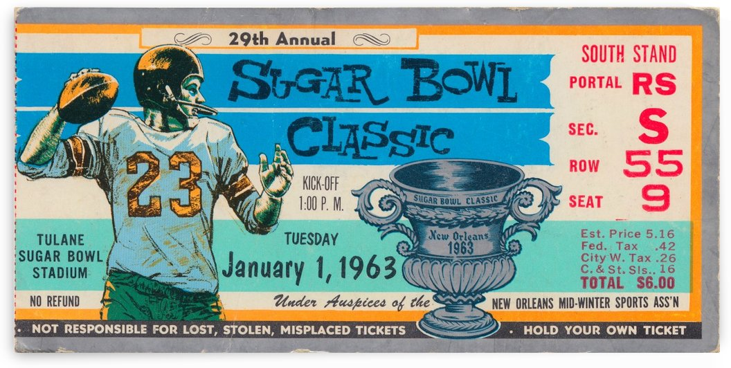 1963 Sugar Bowl Football Ticket Stub_Ticket Stub Collection by Row One Brand