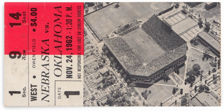 1962 Oklahoma Sooners Football Ticket Art_Oklahoma vs. Nebraska_Owen Field_Norman, OK Gift Idea by Row One Brand