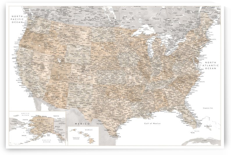 Detailed map of the USA in neutral watercolor by blursbyai