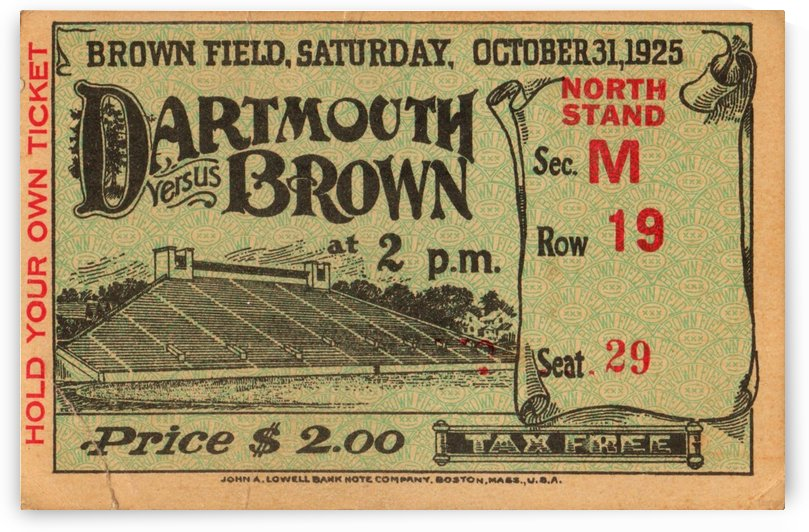 1925 Dartmouth vs. Brown by Row One Brand