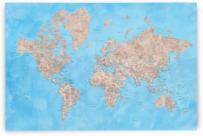 Detailed world map with cities in brown and blue watercolor bathymetry by blursbyai
