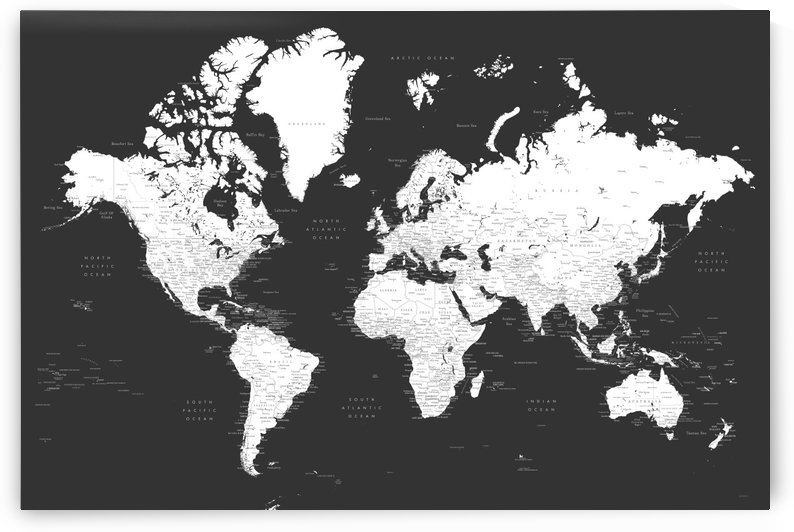 Detailed world map with cities in black and white by blursbyai