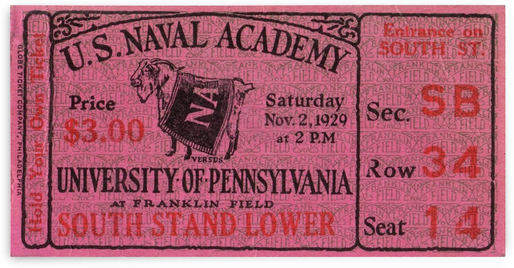 1929 Navy vs. Penn by Row One Brand
