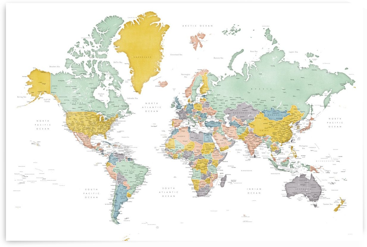 Detailed world map with cities in distressed mid century colors by blursbyai