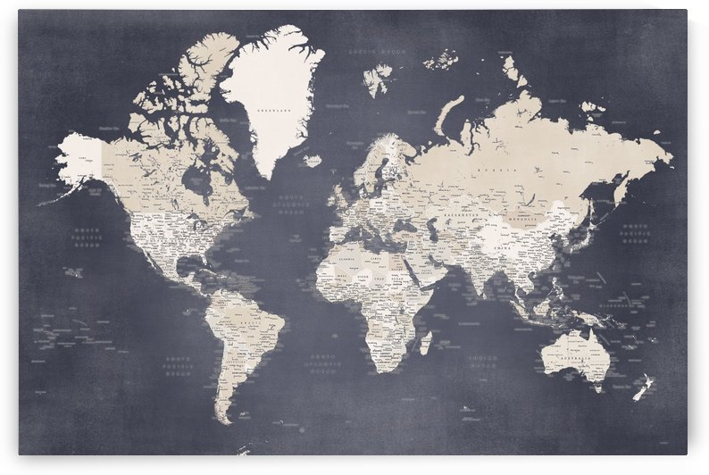 Detailed world map with cities in distressed brown and blue by blursbyai