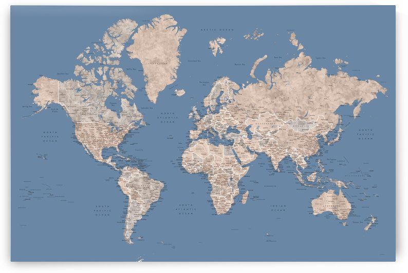 Detailed world map with cities in brown and muted blue by blursbyai
