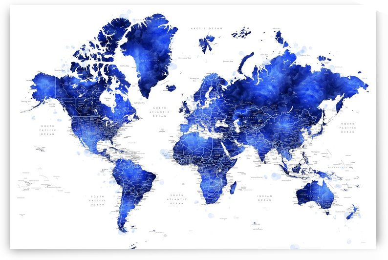 Detailed world map with cities in cobalt blue watercolor by blursbyai