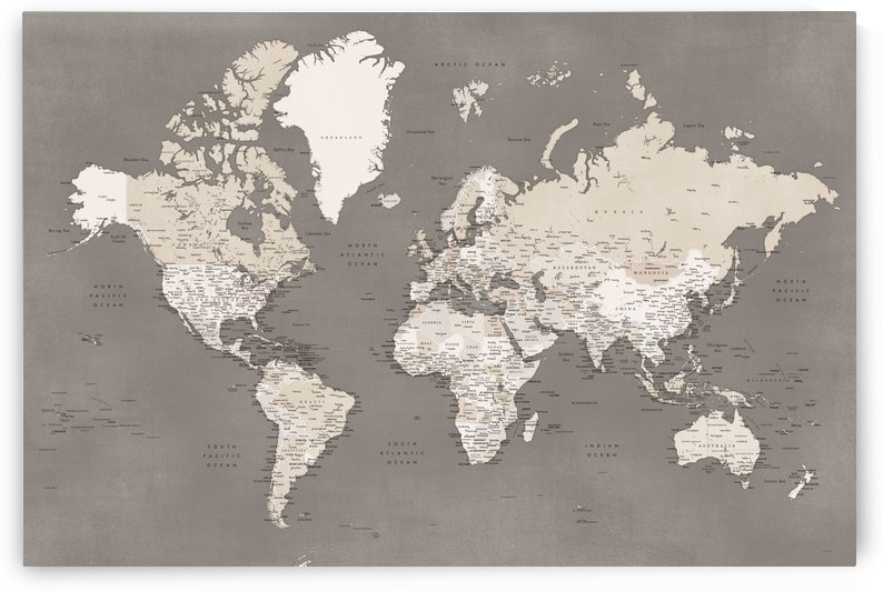 Detailed world map with cities in vintage brown by blursbyai