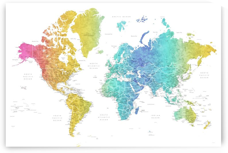 Detailed world map with cities in watercolor gradient by blursbyai