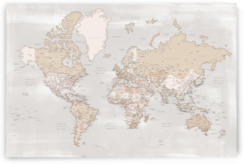 Detailed world map with cities in vintage distressed style by blursbyai
