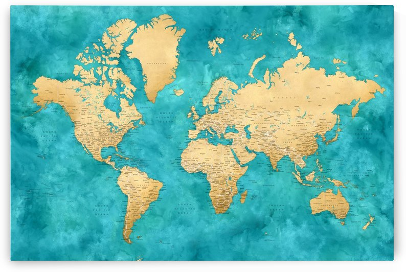 Detailed world map with cities in gold and teal watercolor by blursbyai