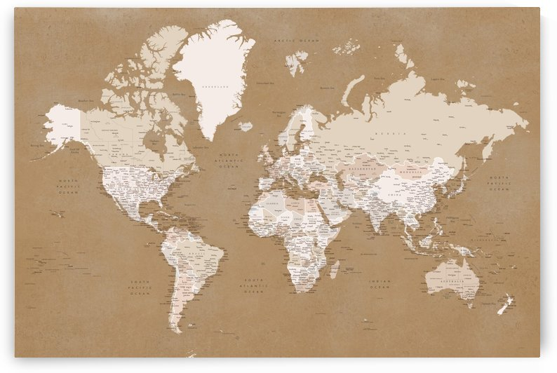 Detailed world map with cities in vintage ochre by blursbyai