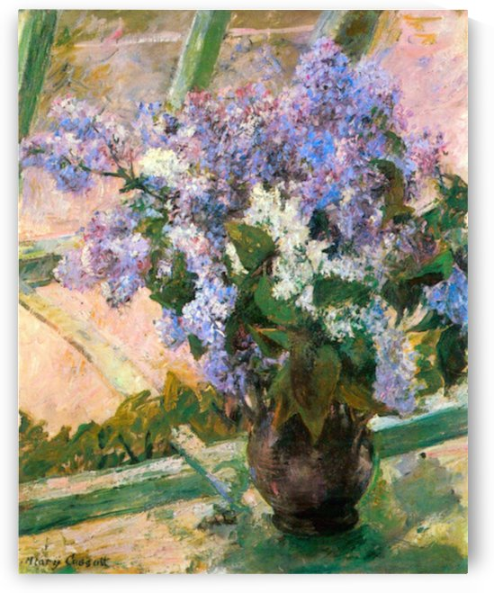 Flowers in the window by Cassatt by Cassatt