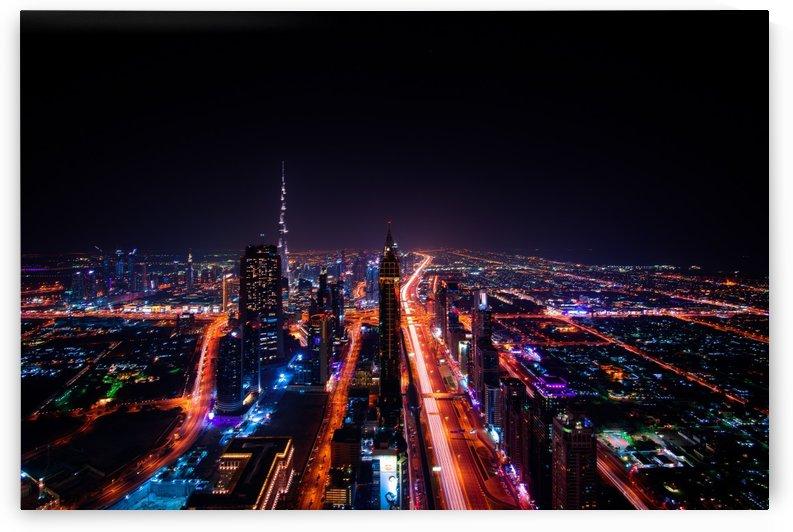 dubai skyscraper city lights by Shamudy