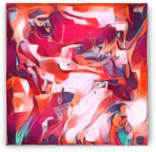 Ribbons - ruby red pink orange blue swirl abstract wall art by Jaycrave Designs