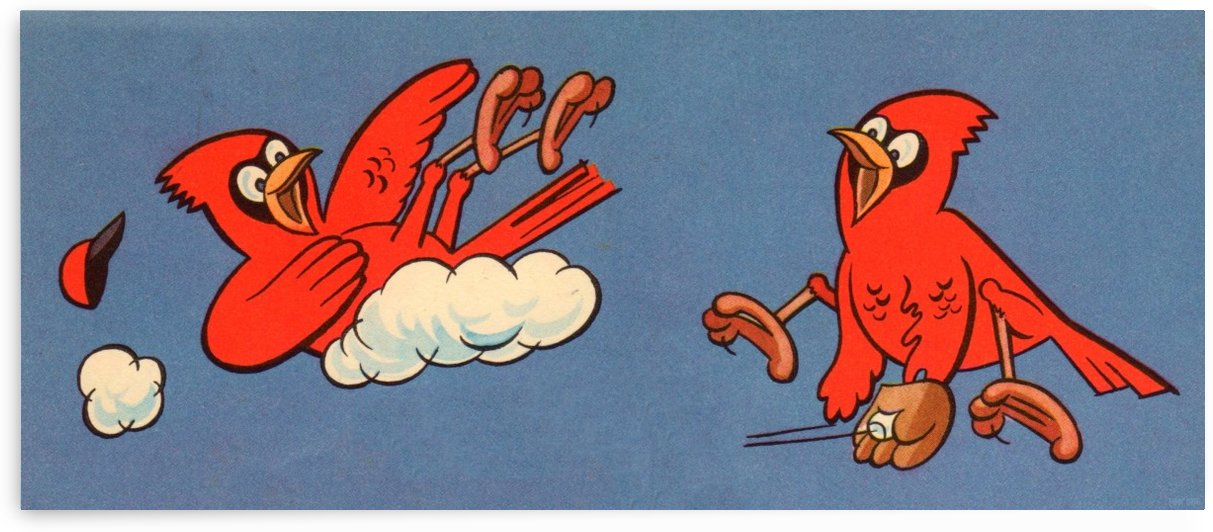 Vintage Baseball Cartoon Art_St. Louis Cardinals Vintage Art Print by Row One Brand
