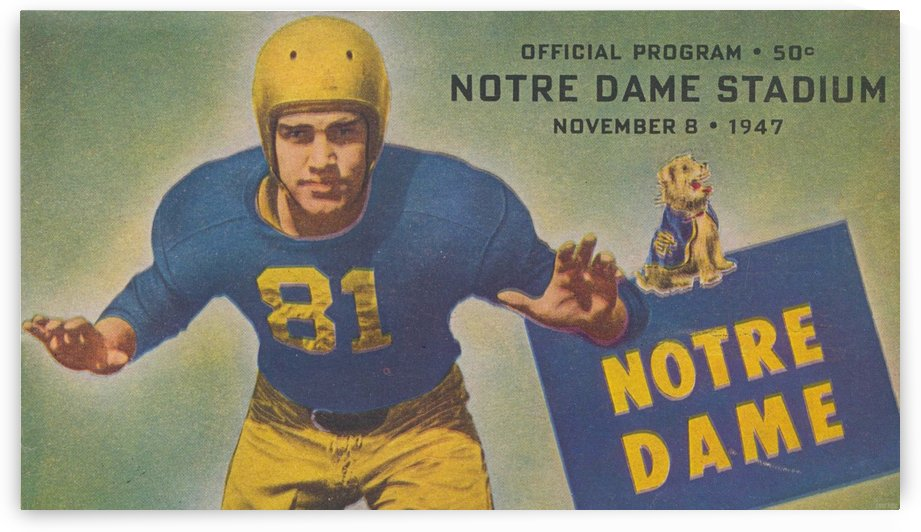 November 8, 1947 Notre Dame Stadium Program 50 Cents by Row One Brand
