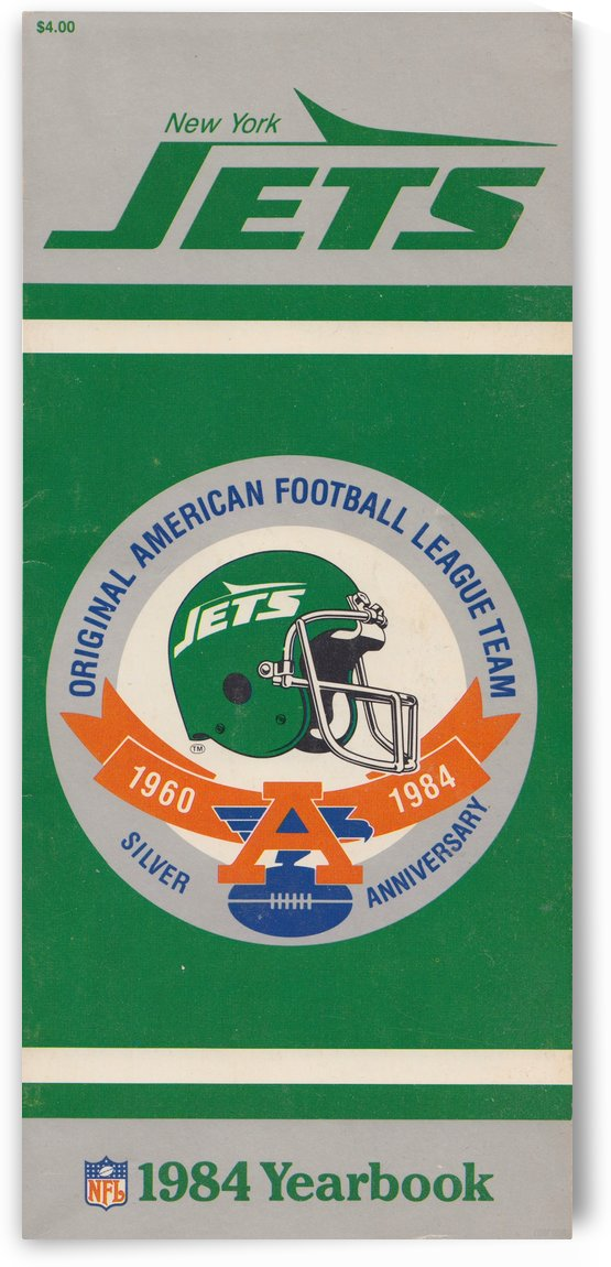 1984 New York Jets Yearbook_NFL Art Reproduction_Vintage Helmet Art by Row One Brand