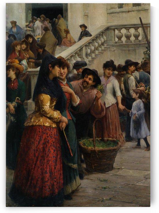 Street and market genre scenes by Fausto Zonaro