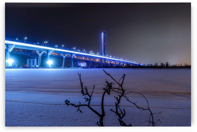 Champlain bridge Montreal at winter night by RezieMart