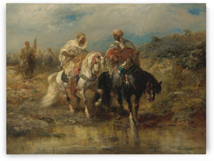 Arab horsemen raiding by Adolf Schreyer