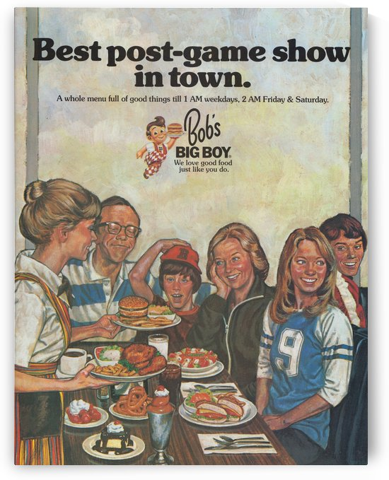 1978 Bobs Big Boy Restaurant Ad_Best Vintage Ads_Retro Advertisement_Post Game Show Ad by Row One Brand