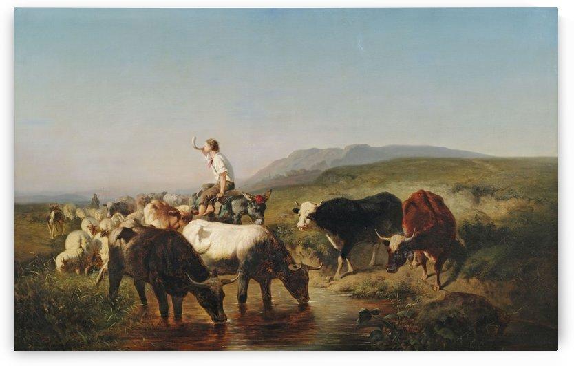 Herde mit eselreitendem Hirtenknaben by Adolf Schreyer
