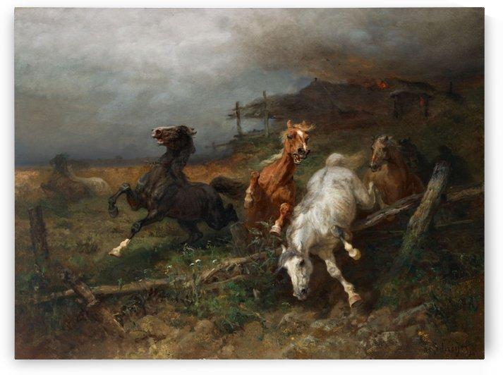 Horses on the run by Adolf Schreyer