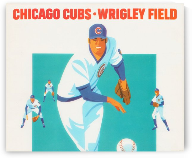 Vintage Chicago Cubs Poster_Vintage Baseball Art Print_Cubs Metal Sign by Row One Brand