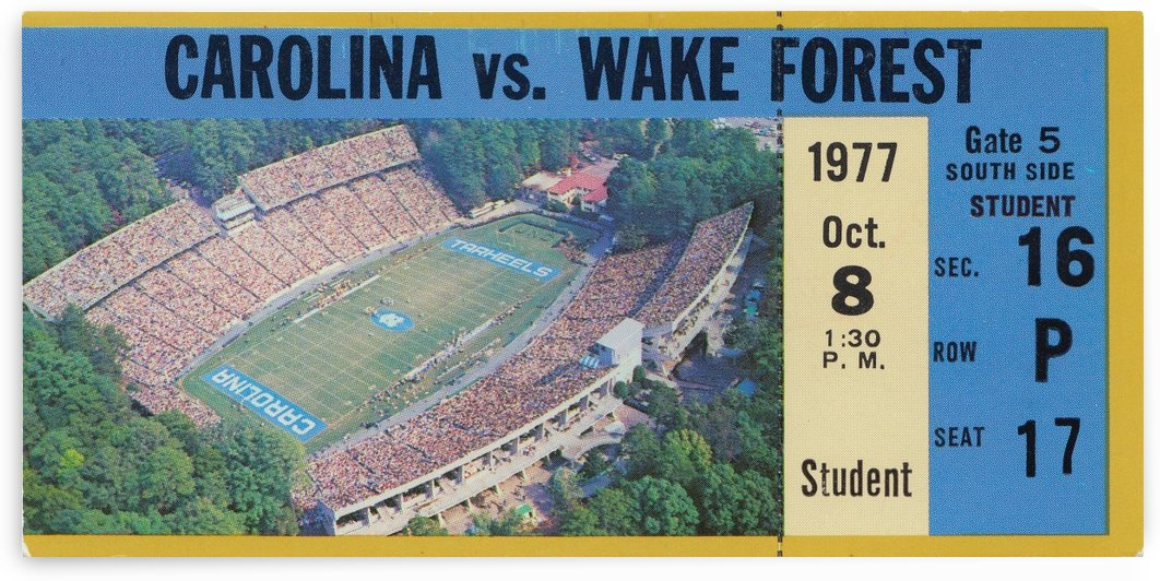 1977 unc north carolina tarheels wake forest college football ticket stub art student ticket by Row One Brand