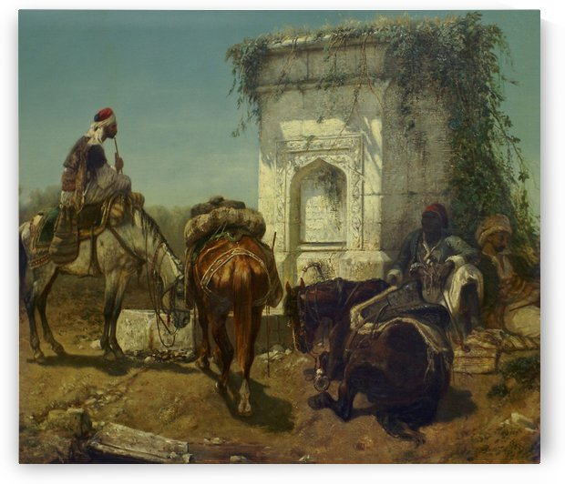 Arabs resting by a marble fountain by Adolf Schreyer