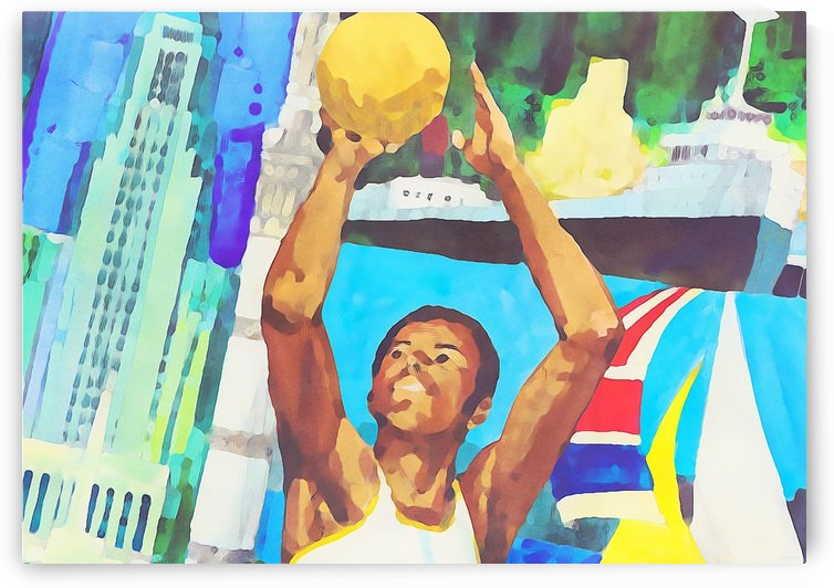 Retro Basketball Art_Cityscape Hoops Art by Row One Brand