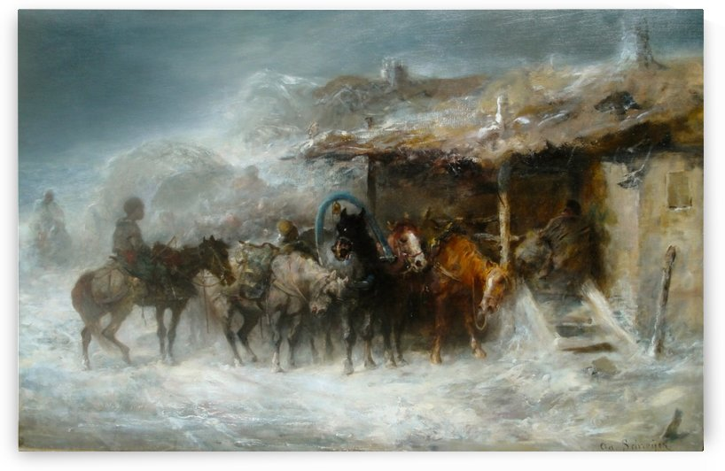 Shelter from the Blizzard by Adolf Schreyer