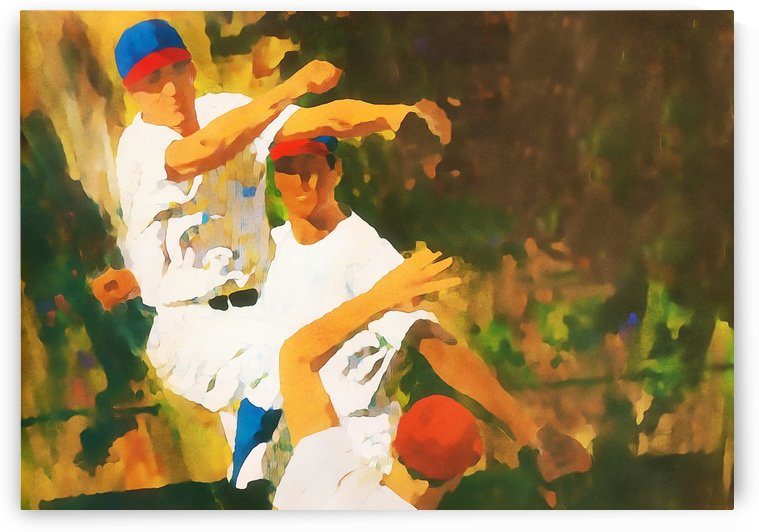 baseball art double play sports poster by Row One Brand
