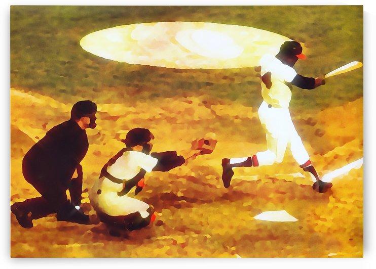 hank aaron home run baseball art poster vintage sports art by Row One Brand