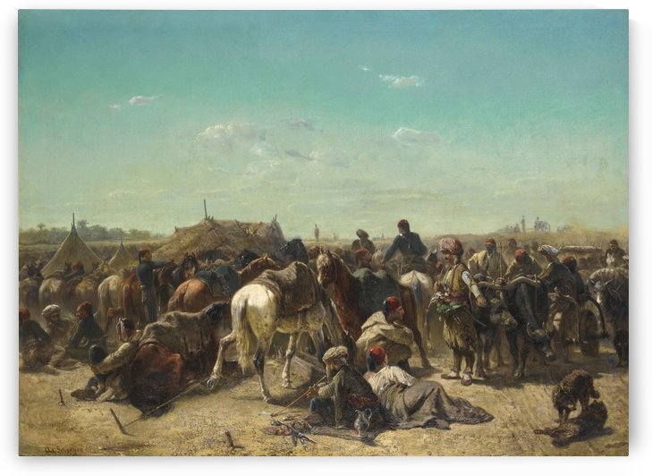 An Ottoman encampment by Adolf Schreyer