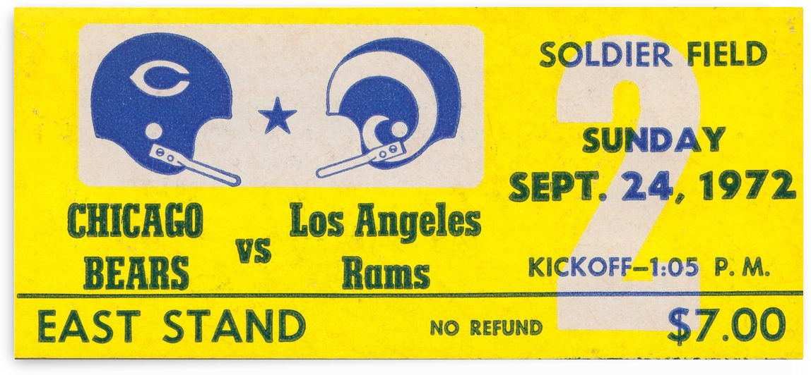 1972 nfl football chicago bears los angeles rams ticket stub poster fine art by Row One Brand