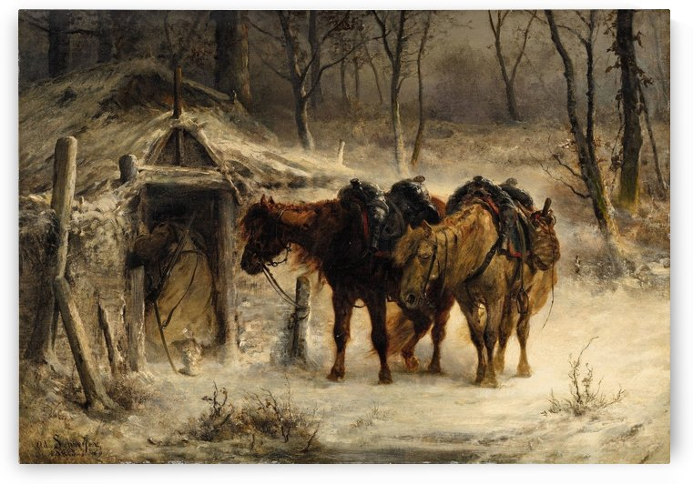 Resting horses by Adolf Schreyer