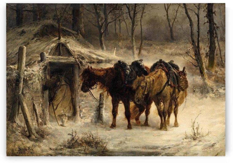 Resting horses by Adolf Schreyer