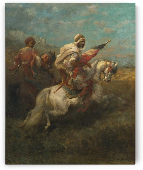 Arabs riding horses by Adolf Schreyer