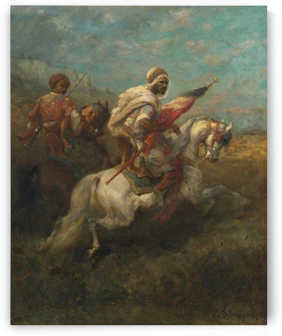 Arabs riding horses by Adolf Schreyer