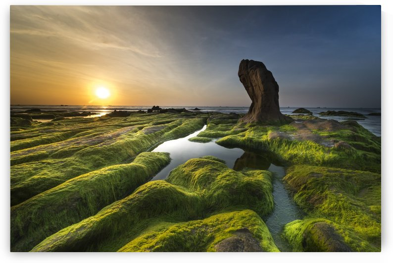 Aerial photography of green and brown rock formation near body of water at golden hour by Shamudy
