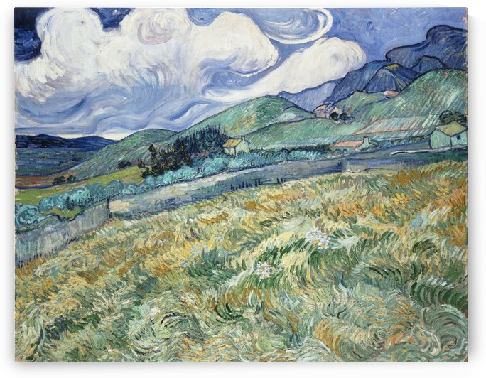 Green grass field near houses and mountain painting by Shamudy